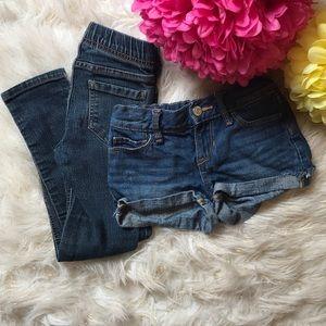 Girls size 5 denim/jean shorts & jeggings